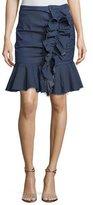 Caroline Constas Ruffled Chambray Mini Skirt