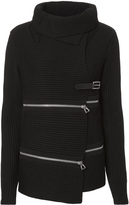 Barbara Bui Zip Detail Belted Sweater Jacket Black P