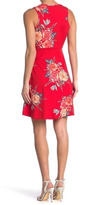 Velvet Torch Floral Faux Wrap Sleeveless Dress