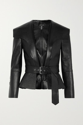 Alexander McQueen Textured-leather Belted Peplum Jacket - Black