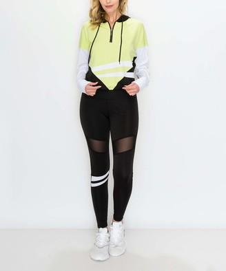 Kimberly C Women's Leggings Black - Black & Lime Green Color Block Hoodie & Black Mesh-Panel Leggings - Women