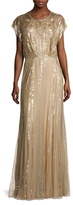 Jenny Packham Silk Sequin Cap Sleeve Gown