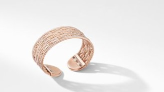 David Yurman Stax Cuff Bracelet In 18K Rose Gold With Pave Diamonds