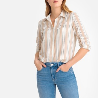 La Redoute Collections Metallic Striped Cotton Shirt