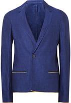 Haider Ackermann - Blue Slim-fit Contrast-trimmed Linen Blazer
