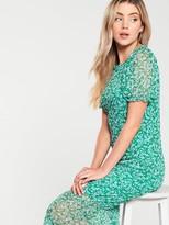Very Floral Mesh Frill Hem Dress - Green