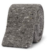 Brunello Cucinelli 5.5cm Mélange Knitted Wool And Cashmere-blend Tie - Gray
