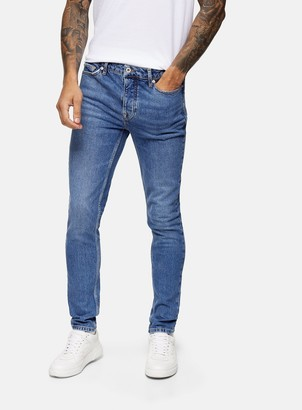 Topman CONSIDERED Mid Wash Stretch Skinny Jeans