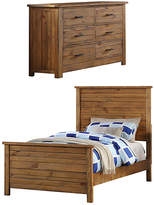 Brown Contemporary Madison Kids' Twin Bed & Dresser