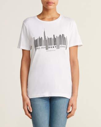 DKNY White & Black Short Sleeve Barcode Tee