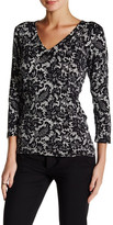 Laundry by Shelli Segal Lacey Grace Printed V-Neck Sweater