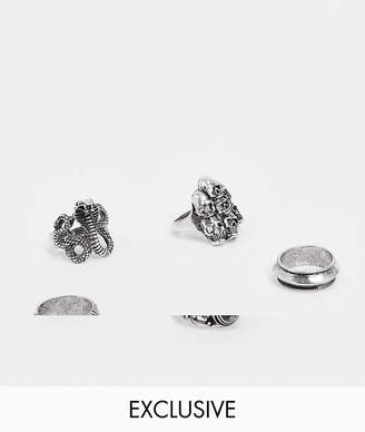 Reclaimed Vintage Inspired chunky ring pack with snake and skulls