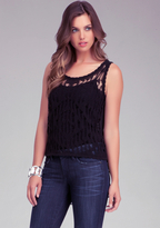 Bebe Crochet Sheer High Low Tank