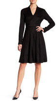 Catherine Malandrino Faux Suede Long Sleeve Fit & Flare Dress