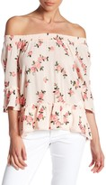 Democracy Smocked Neck Floral Peasant Blouse