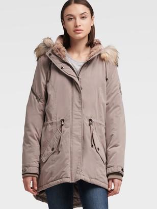 DKNY Women's Fur Trimmed Hooded Parka - Stone - Size S