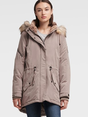 DKNY Women's Fur Trimmed Hooded Parka - Stone - Size XL