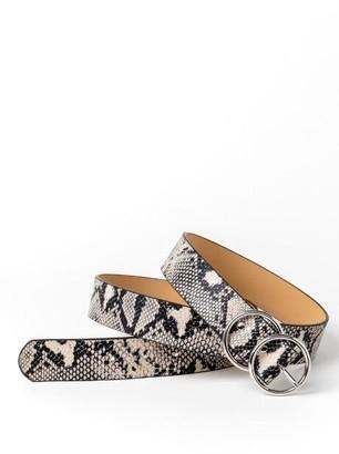 francesca's Susie Snakeskin Belt - Black/White