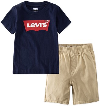 Levi's Levis Toddler Boy 2-Piece Batwing Tee & Pull-On Shorts Set