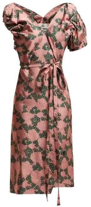 Vivienne Westwood Gabriella Tie Waist Floral Jacquard Dress - Womens - Pink Multi