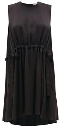RED Valentino Tie-waist Satin Mini Dress - Womens - Black