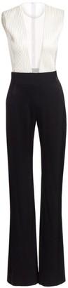 Galvan Plunging Sheer V-Neck Tuxedo Jumpsuit