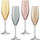LSA International 225 ml Polka Champagne Flute, Assorted (Pack of 4)