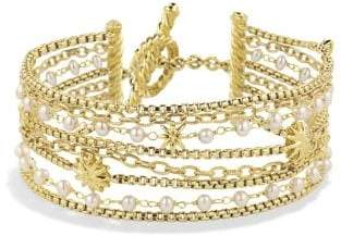 David Yurman Starburst Chain Bracelet With Pearls In 18K Gold