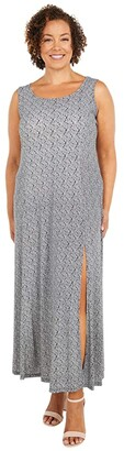 MICHAEL Michael Kors Size Paisley Geo Scoop Neck Maxi (Black/White) Women's Dress