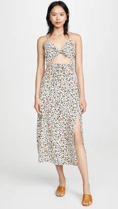 WAYF Pheobe Tie Front Slit Dress