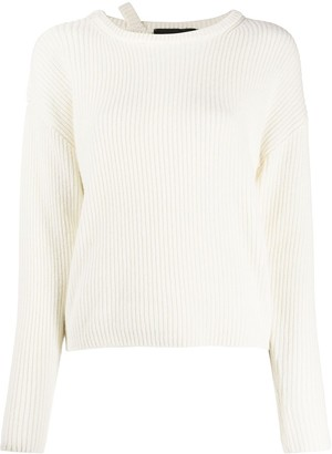FEDERICA TOSI Strap-Neck Ribbed Sweater