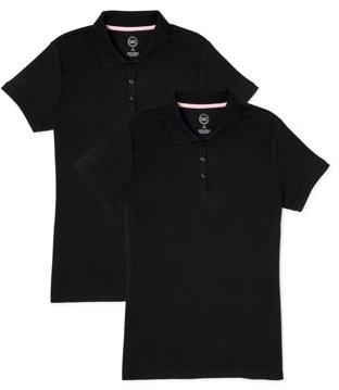 Wonder Nation Girls School Uniform Short Sleeve Interlock Polo Shirt, 2-Pack Value Bundle, Sizes 4-18