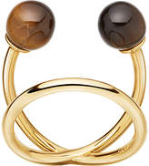 Astley Clarke Yves yellow-gold vermeil and tigers eye ring