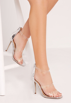 Missguided Silver Transparent 3 Strap Barely There Heeled Sandals