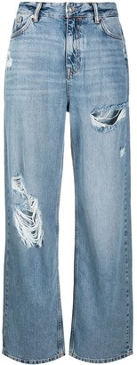 AllSaints High Rise Distressed Finish Jeans