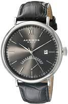 Akribos XXIV Men's AK845SSB Retrograde Silver Tone Stainless Steel and Black Leather Strap Watch