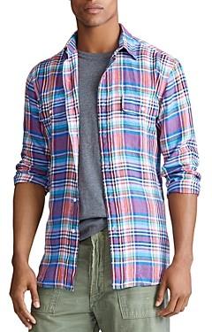 Polo Ralph Lauren Plaid Linen Custom Fit Shirt
