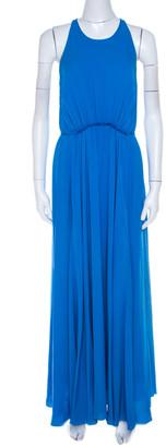 3.1 Phillip Lim Sapphire Blue Silk Crepe Gathered Halter Maxi Dress S