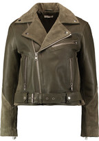 GANNI Suede-Paneled Leather Biker Jacket