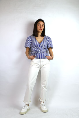 Maison Labiche Striped Wrap Top - Size XS | cotton | blue - Blue/Blue