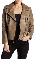 Vince Camuto Short Genuine Leather Moto Jacket