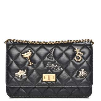 Chanel Reissue 2.55 Wallet On Chain Quilted Diamond Lucky Charms Casino Black