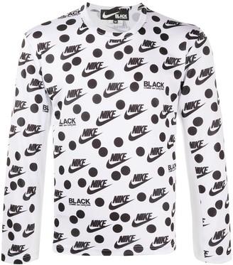 Black Comme Des Garçons x Nike print long sleeve top