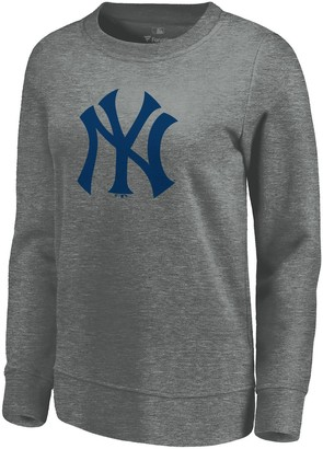 New York Yankees Women's Fanatics Branded Gray Official Logo Pullover Sweatshirt