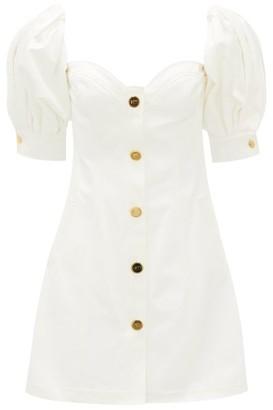 Françoise Francoise - Balloon-sleeve Cotton-twill Mini Dress - Womens - White