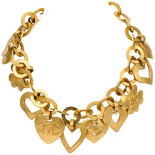 One Kings Lane Vintage Chanel Satin Gold Herat Charm Necklace - Vintage Lux