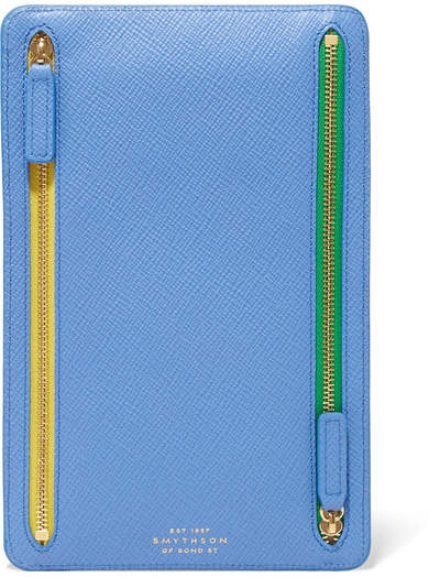 Smythson Panama Textured-leather Wallet - Blue