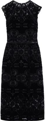 ML Monique Lhuillier Ruffle-trimmed Flocked Tulle Midi Dress