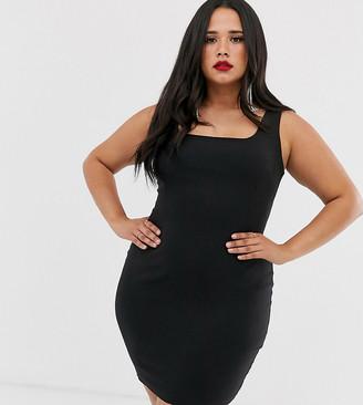 Vesper Plus square neck mini dress in black