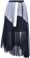 Sacai asymmetric micro-pleated skirt